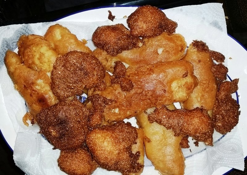 Batter fried trout and hush puppies