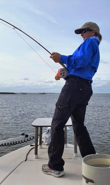Fighting a big red fish